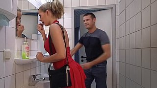 Lady in Red gets her ass fucked in Toilet. Swallow Thumbnail