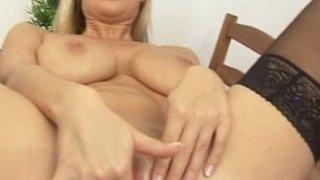 Busty blonde Carol sex toy masturbation Thumbnail