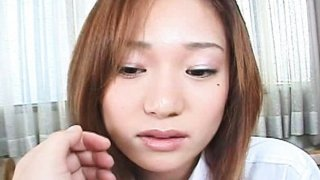 Horny Japanese teen sucks and gobbles a thick cock on her knees Thumbnail