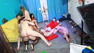 Hot group sex at fancy-dress party Thumbnail