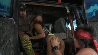 Slutty asian Kaylani Lei gets tag teamed in a van Thumbnail