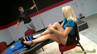 Cool blonde likes to be drilled by strong young men Thumbnail