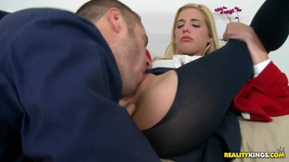 Carmen Monet sucks huge cock and gets cum in her mouth Thumbnail