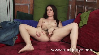 Mature looking babe plays with a dildo Thumbnail