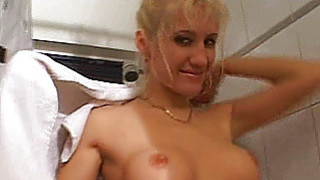 Busty amateur girlfriend sucks and fucks in the ba Thumbnail