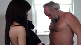 Wanking old perv ends cumming on hot brunette Thumbnail