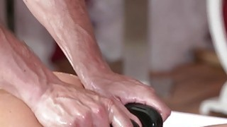 Oiled redhead gets massage and fuck Thumbnail
