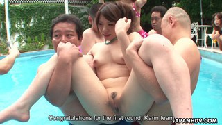 Asian bikini sluts playing by the pool Thumbnail
