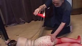 Voluptuous Japanese BDSM hot wax on big butt Thumbnail