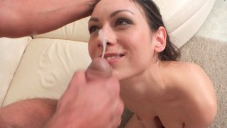 Brunette hottie Arwen Gold gives a wet horny blowjob then slides down to give a stiffie ride in... Thumbnail