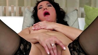 Black haired mature fingering herself in stockings Thumbnail