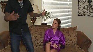 Brunette masseuse riding black cock in shower Thumbnail