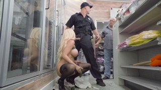 Blonde Luna Star sucks policeman's cock in a store Thumbnail