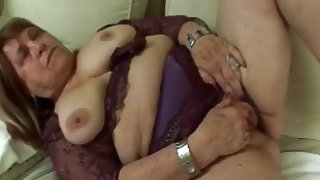 Chubby granny masturbates until gets a hard young duck in her wet vagina Thumbnail