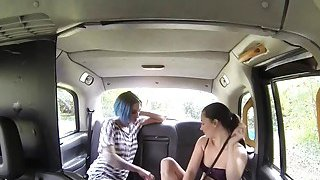 Lesbians trying sex toys in fake taxi Thumbnail