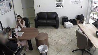 Nerdy brunette teen Joseline Kelly fucked hard by an agent Thumbnail