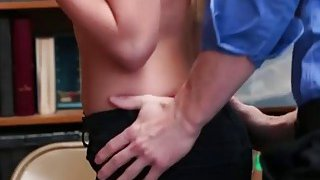 Cute shoplifter having a strip search and a quick fuck