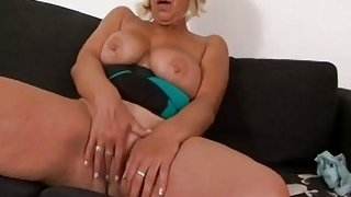 Real busty tits blonde granny fingering her mature shaved pussy for foreplay