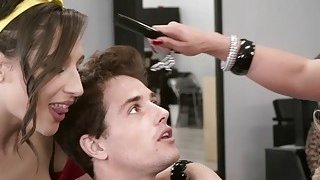 Nasty hairdressers fucks young cock in salon Thumbnail