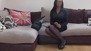 Ebony babe with natural tits getting her pussy fingered on a job interview Thumbnail