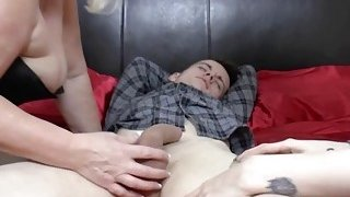 Teen and granny get banged roughly in threesome