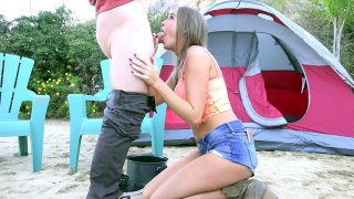 Alexis Adams jerks and sucks hard cock outdoor Thumbnail
