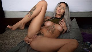 JOI hottie with awesome tattoos toys her love tunnel solo Thumbnail