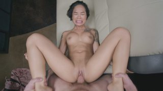 All natural Honey Gold gets her shaved twat drilled Thumbnail